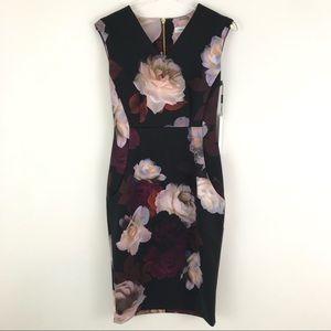 Calvin Klein Sleeveless Floral Print Sheath Dress